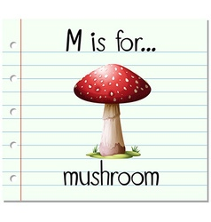 Flashcard letter m is for mushroom vector