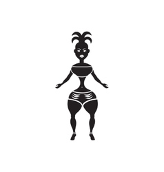 Flat icon in black and white carnival dancer vector