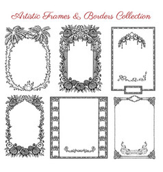 Graphic set with vintage frames and borders vector
