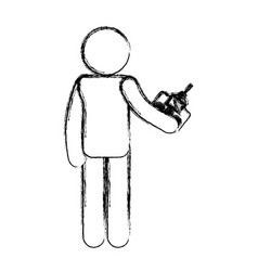 Human figure with drone control vector