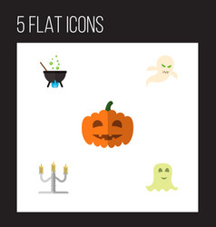 icon flat celebrate set of cauldron phantom vector image