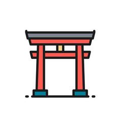 japanese torii gate flat color line icon vector image