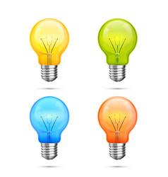 lamp idea icon set object color light vector image