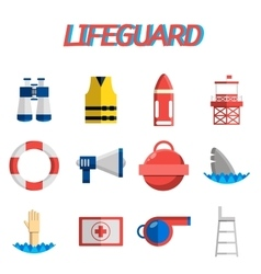 Lifeguard flat icon set vector