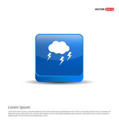 lightening cloud icon - 3d blue button vector image