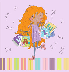 Littl Girl shopping vector image