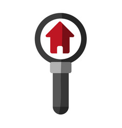 Magnifying glass and house real estate related vector