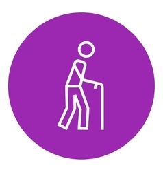 Man with cane line icon vector