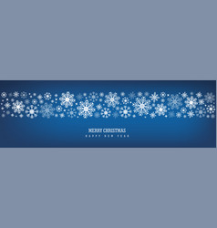 merry christmas decoration with snowflake on blue vector image