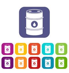 Metal oil barrel icons set vector