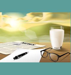 Milk-sheet-pen-glass-news paper on wooden table vector