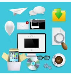 Modern icons set business background vector