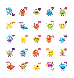 Monsters growling and screaming flat icons vector