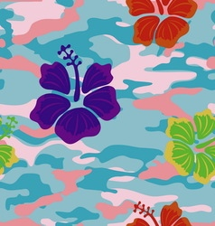 Multicolored hibiscus on the pink blue military vector