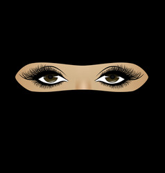 Muslim woman face in hijab close-up on a full vector