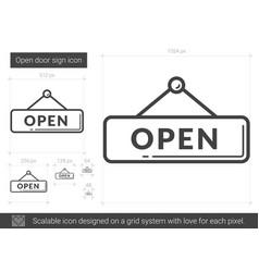 Open door sign line icon vector