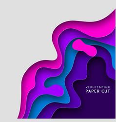 paper art banner background in violet and blue vector image