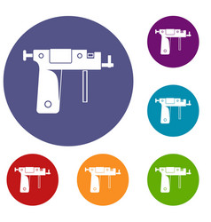 Piercing gun icons set vector