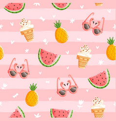 Pink summer pattern vector