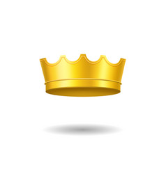realistic detailed 3d golden crown royal jewelry vector image