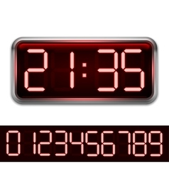 Red Digital Clock vector