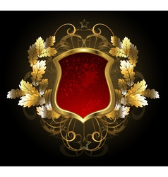 Red Shield with an Oak Branch vector image vector image