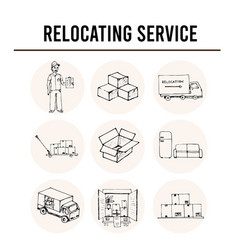 relocation service isolated hand drawn doodles vector image