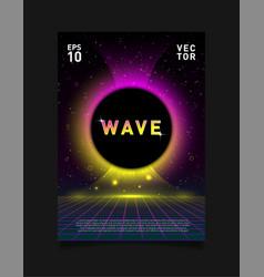 Retrowave vaporwave synthwave laser grid and vector