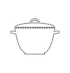 saucepan simple sign black dashed icon on vector image