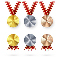 set awards golden silver and bronze medals vector image