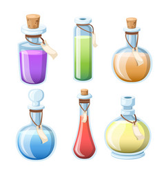 Set magic potions bottles with colorful liquid vector