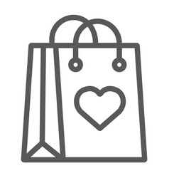 shopping bag with heart line icon love and vector image