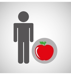 silhouette man apple nutrition healthy vector image
