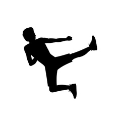 Silhouette man martial arts flying kick vector