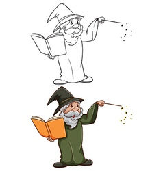 Simple and coloured sketches of a wizard vector image