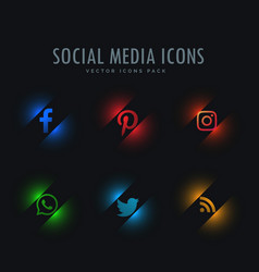 Six social media icons in neon style vector