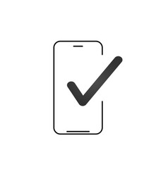 smartphone and checkmark icon line outline art vector image