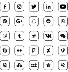 Social media black rounded icons set vector