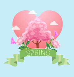 spring written ribbon card red heart pink tree vector image