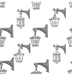Street lanterns seamless pattern vector
