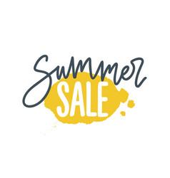 Summer sale cursive lettering phrase decorated vector