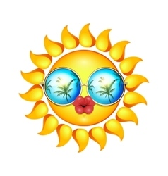 Summer Sun Face with sunglasses and full lips vector image
