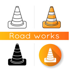 traffic cone icon roadworks caution pedestrian vector image