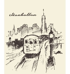 Tram Manhattan New York drawn sketch vector