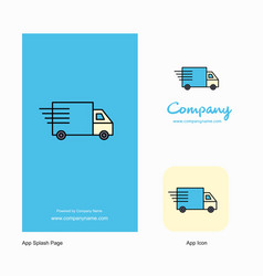 truck company logo app icon and splash page vector image