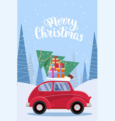 vertical festive postcard with lettering - retro vector image