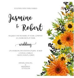 Wedding invitation floral invite card orange vector