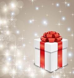 White gift box on twinkling stars background vector image