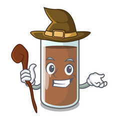 Witch fresh chocolate splash on pouring mascot vector