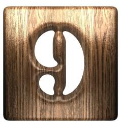 Wooden figure 9 vector